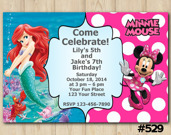 Twin Ariel and Minnie Mouse Invitation   Personalized Digital Card