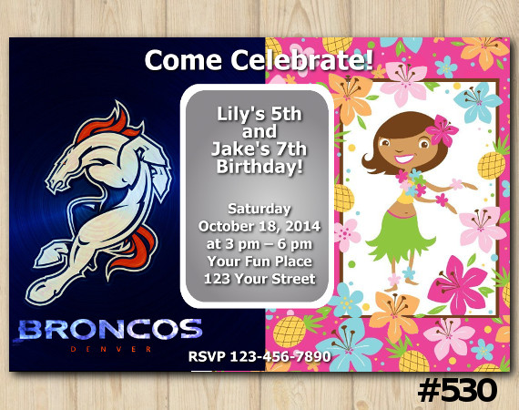 Twin Denver Broncos and Hawaiian Invitation   Personalized Digital Card