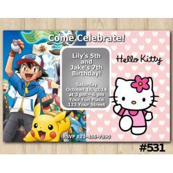 Twin Pokemon and Hello Kitty Invitation