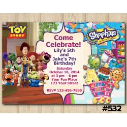 Twin Toy Storry and Shopkins Invitation