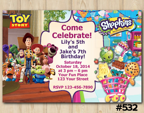 Twin Toy Storry and Shopkins Invitation | Personalized Digital Card