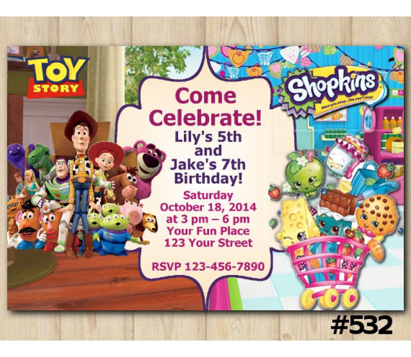 photograph relating to Shopkins Birthday Card Printable referred to as Dual Toy Storry and Shopkins Invitation Customized Electronic Card