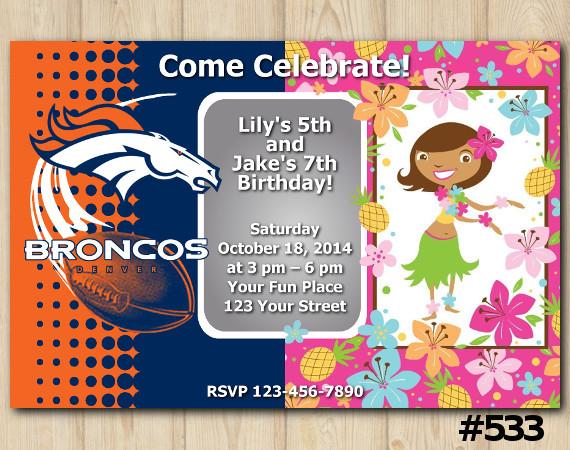 Twin Denver Broncos and Hawaiian Invitation | Personalized Digital Card
