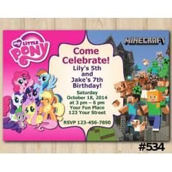Twin My Little Pony and Minecraft Invitation