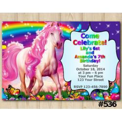 Twin Rainbow and Unicorn Invitation