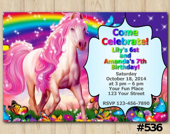 Twin Rainbow and Unicorn Invitation | Personalized Digital Card