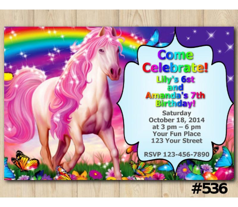 Twin Rainbow And Unicorn Invitation Personalized Digital Card