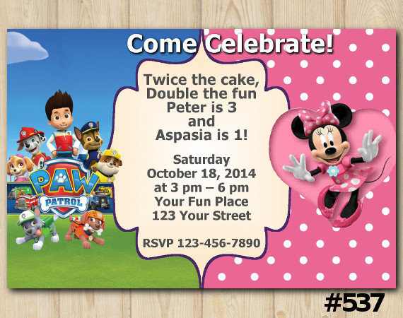 Twin Paw Patrol and Minnie Mouse Invitation | Personalized Digital Card