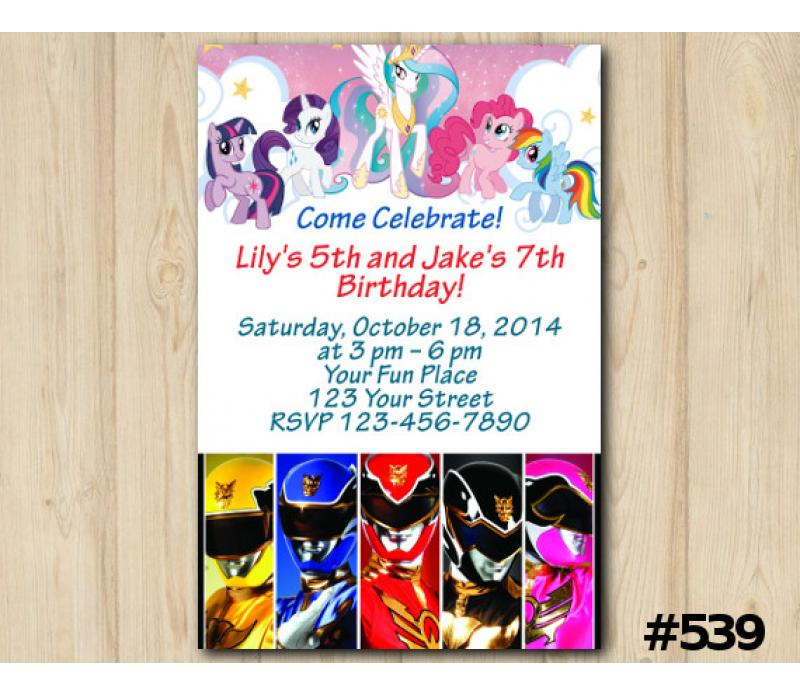 Twin My Little Pony And Power Ranger Invitation