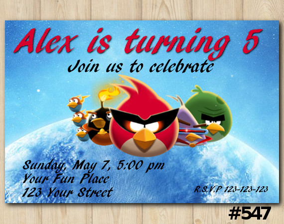Angry Birds Birthday Invitation | Personalized Digital Card