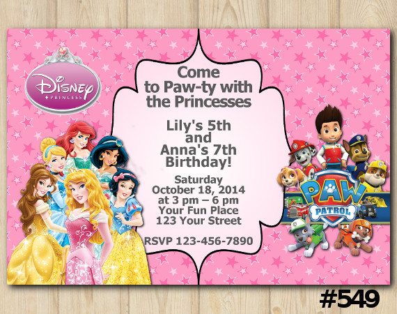Twin Disney Princess and Paw Patrol Invitation | Personalized Digital Card