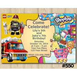 Twin Lego and Shopkins Invitation