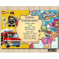 Twin Lego and Shopkins Invitation