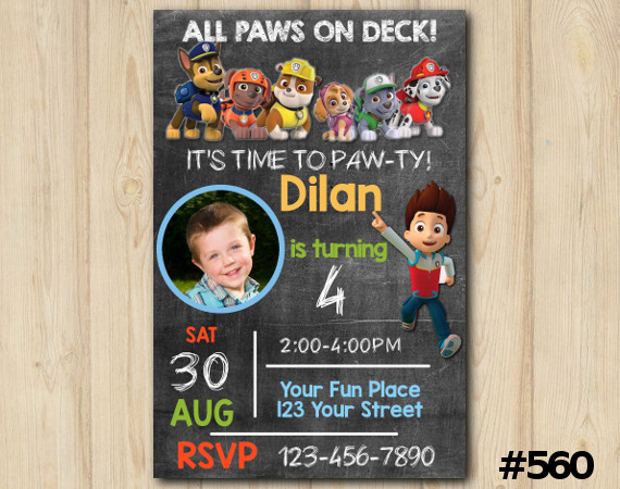 Paw Patrol Invitation with Photo | Personalized Digital Card