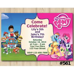 Twin Paw Patrol and My Little Pony Invitation