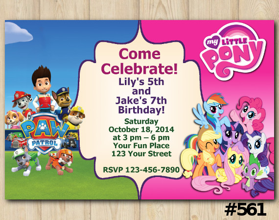 Twin Paw Patrol and My Little Pony Invitation | Personalized Digital Card