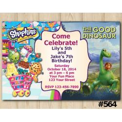 Twin Shopkins and the Good Dinosaur Invitation