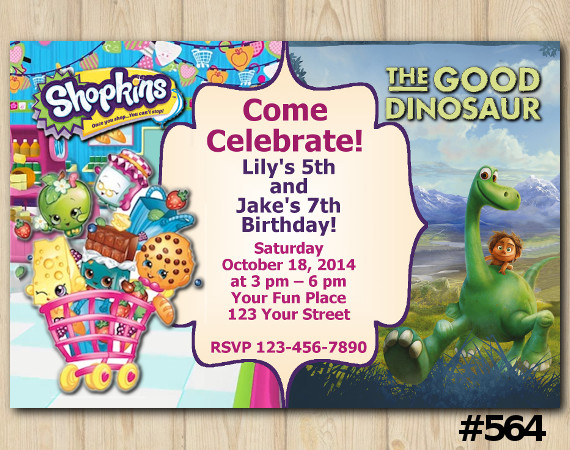 Twin Shopkins and the Good Dinosaur Invitation | Personalized Digital Card