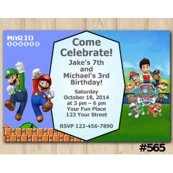 Twin Super Mario Brothers and Paw Patrol Invitation