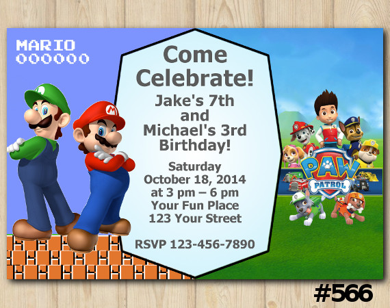 Twin Super Mario Brothers and Paw Patrol Invitation | Personalized Digital Card