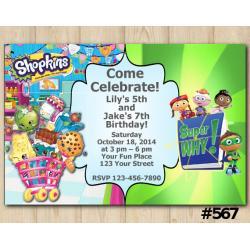 Twin Shopkins and Super Why Invitation