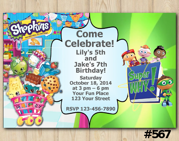 Twin Shopkins and Super Why Invitation | Personalized Digital Card