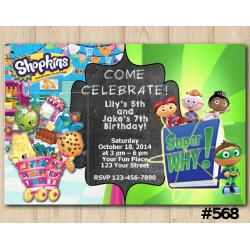 Twin Shopkins and Super Why Invitation