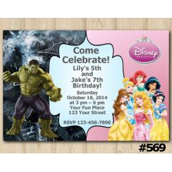 Twin Disney Princess and Hulk Invitation