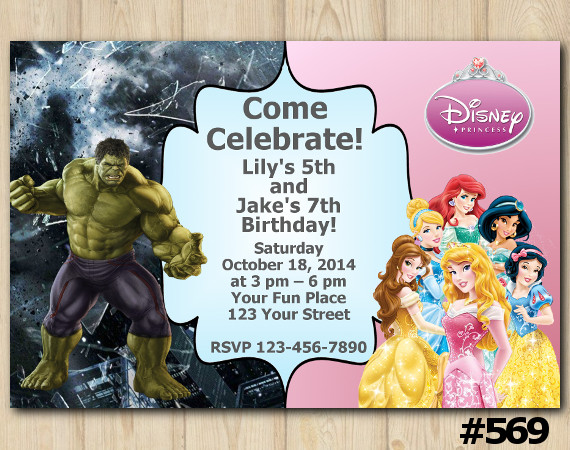 Twin Disney Princess and Hulk Invitation | Personalized Digital Card