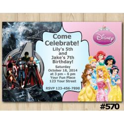 Twin Avengers and Disney Princess Invitation