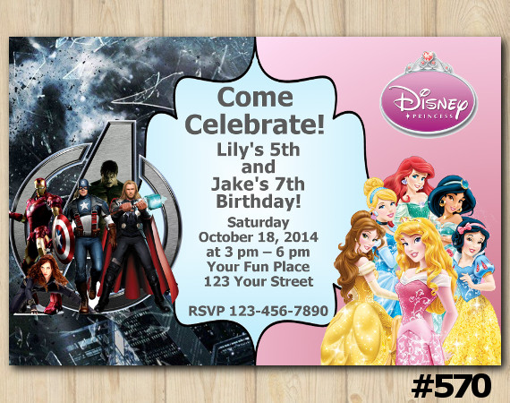Twin Avengers and Disney Princess Invitation | Personalized Digital Card