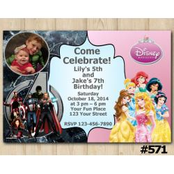 Twin Avengers and Disney Princess Invitation with Photo