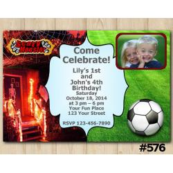 Twin Scary Monsters and Futball Invitation with Photo