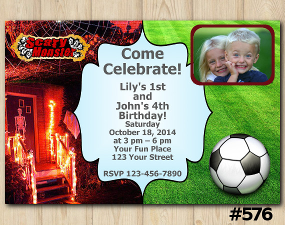 Twin Scary Monsters and Futball Invitation with Photo | Personalized Digital Card