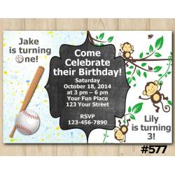 Twin Baseball and Baby Monkey Invitation