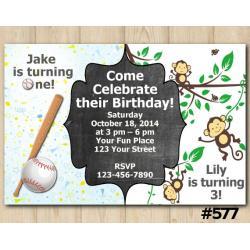 Twin Baseball and Baby Monkey Invitation