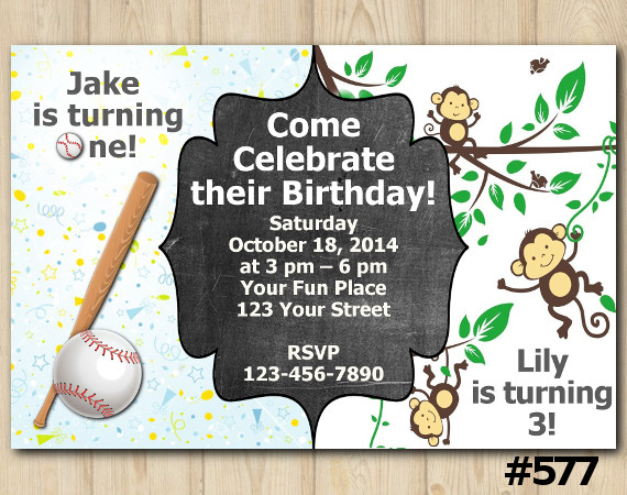 Twin Baseball and Baby Monkey Invitation | Personalized Digital Card