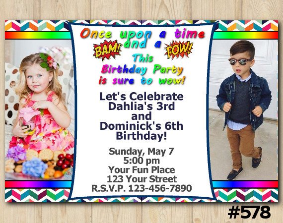 Twin Bam Pow Invitation with Photo | Personalized Digital Card