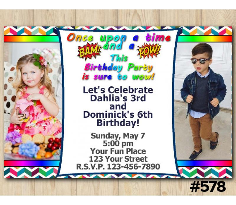 Twin Bam Pow Invitation With Photo Personalized Digital Card