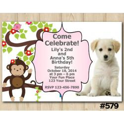 Twin Baby Monkey and Puppy Invitation