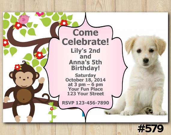 Twin Baby Monkey and Puppy Invitation | Personalized Digital Card