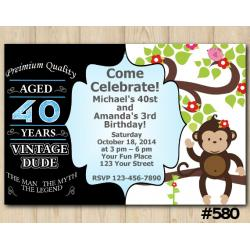 Twin Adult Vintage and Baby Monkey Invitation