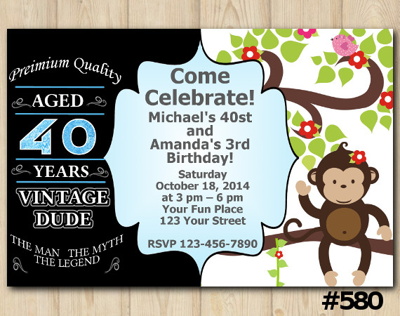 Twin Adult Vintage and Baby Monkey Invitation | Personalized Digital Card