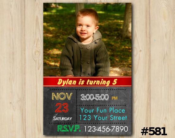 Chalkboard Boys Invitation with Photo | Personalized Digital Card