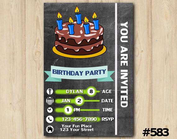 Chalkboard Cake Invitation   Personalized Digital Card