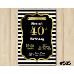 Adult Stripe Gold Invitation