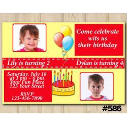 Twin Cake Invitation with Photo