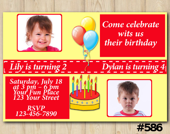 Twin Cake Invitation with Photo | Personalized Digital Card