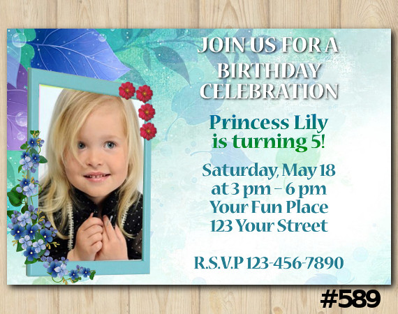 Girls Invitation with Photo | Personalized Digital Card