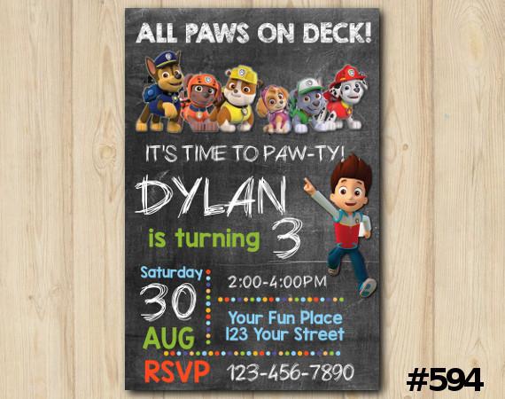 Paw Patrol Invitation   Personalized Digital Card